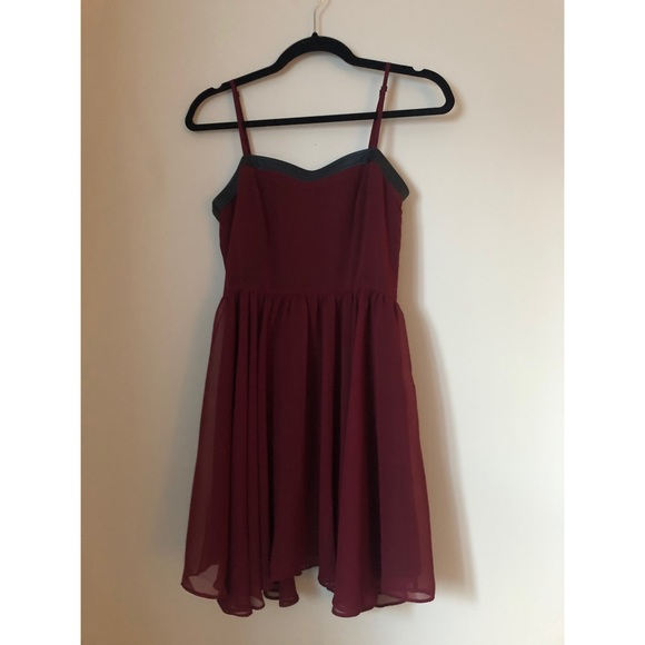 Burgundy Mini Dress with Faux Leather